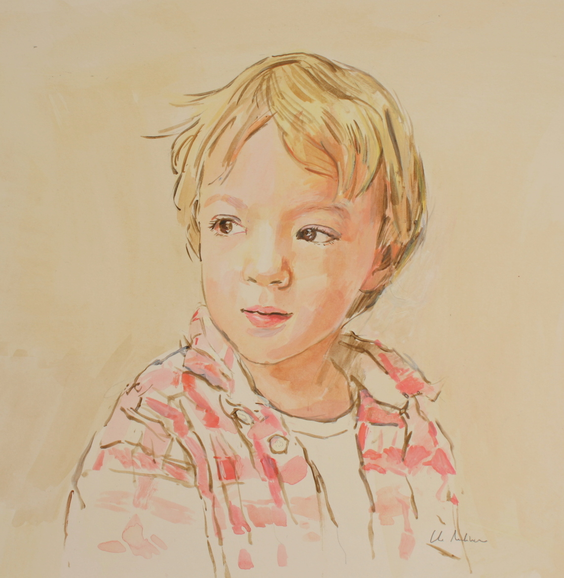 Study of a small boy done in acrylics