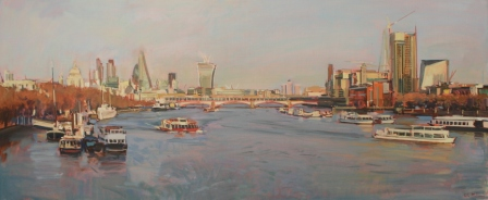 oil painting of London 20 by 48 ins
